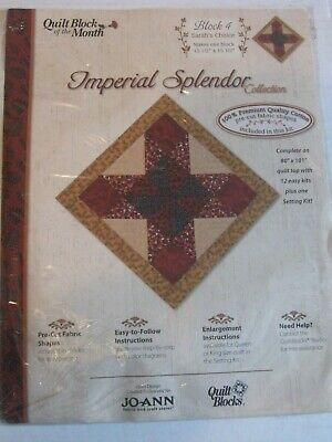 IMPERIAL SPLENDOR Jo Ann Fabric QUILT BLOCKS OF THE MONTH #  4 SARAH'S CHOICE