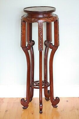 Antique tall elegant Chinese rosewood urn / plant stand carved with dragons
