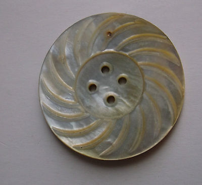 "Large 1 1/4"" Sun carved Mother of Pearl Shell antique vtg button big MOP luster"