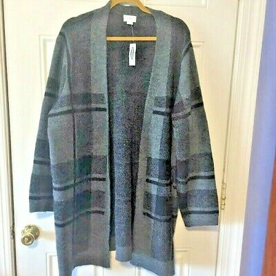 Old Navy Gray Black Plaid Open Front Duster Cardigan Sweater Size XXL NWT