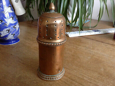 Unknown Arts & Crafts Trench Art Style Heavy Gauge Copper or Brass Shaker Sifter