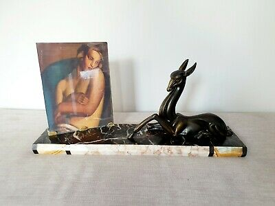 Large and Original Art Deco Marble Photo Frame Spelter Deer Picture Frame 1930s