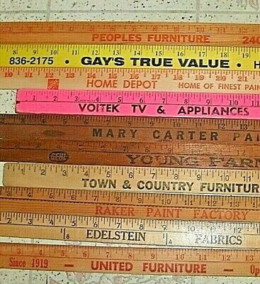 10 Vintage  Old Wood Advertising Yardstick Lot Pennsylvania Area Mixed Lot