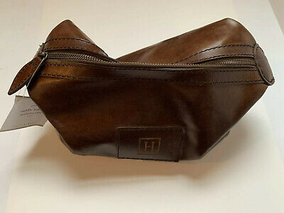 """NEW Pottery Barn Saddle Leather Toiletry Travel Case~Chocolate~MONO """"H"""""""