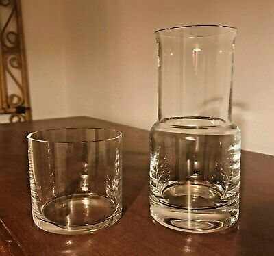 Vintage Royal Doulton Bedside Clear Glass Carafe Tumbler Cup Lid Water Spirits