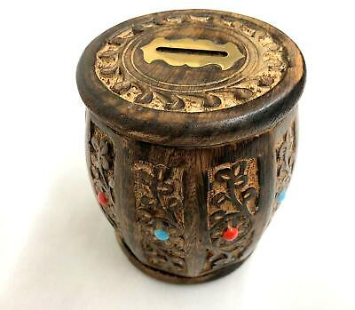 carved wooden money box with beads vintage with locking key