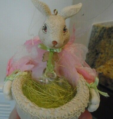 Mark Roberts Easter Bunny Ornament pink green beads basket Rare Heirloom quality