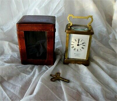 1880 French Antique Brass Cased Carriage Clock Enamel Working Benetfink & Co