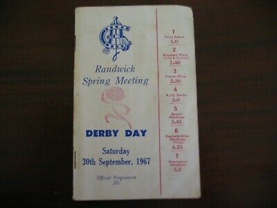 Race Meeting Book Derby Day Randwick Spring Meeting 1967