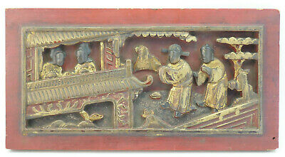 Antique Chinese Hand Carved Lacquered Painted Gilt Wood Panel Temple Scene