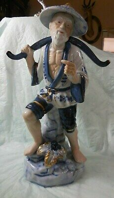 "12.5"" Oriental Blue White Porcelain Chinese Fisherman Old Man Figurine Statue"