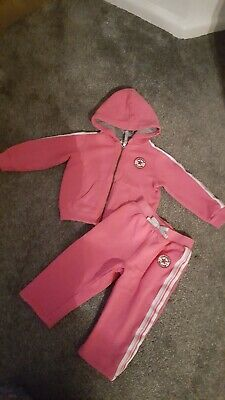 Converse baby girls tracksuit hoody & joggers pink size 18 months