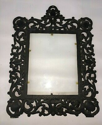 """Vintage Ornate Cast Iron French Picture Frame Victorian Easel 13""""x17"""""""