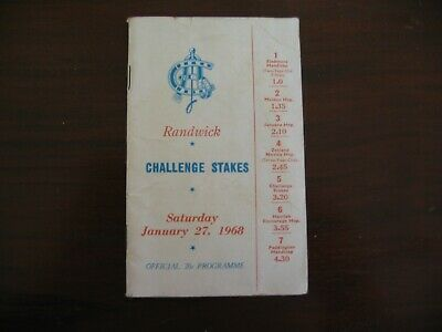 Race Meeting Book Challenge Stakes Randwick 1968