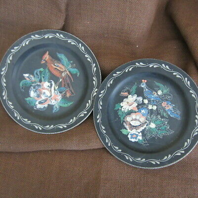 "Set of 2  10"" Vintage Metal Paint by Number Pocket Plates Birds Cardinal"