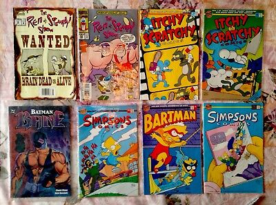 Mixed Lot of 8 Comic Books*Batman*Ren & Stimpy*Itchy and Scratchy*Simpsons
