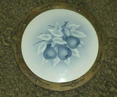 ARTS & CRAFTS HAMMERED Metal Tray Signed Blue & White Porcelain Pears