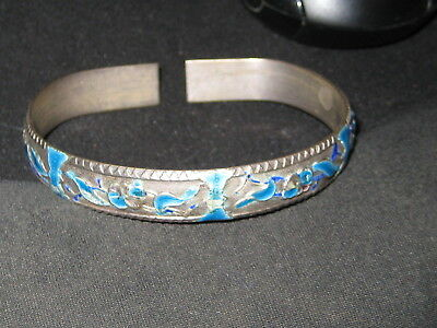 Antique Chinese Enamel Heavy Silver Cuff Bangle Bracelet Lovely!