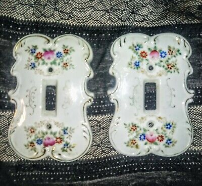 Original Arnart Creation Japan Porcelain 2 Single Light Switch Cover Plates