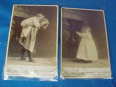 2-1880s CHILD ACTOR Baby Sheridan CABINET CARD PHOTOS Newmarket Theater Chicago