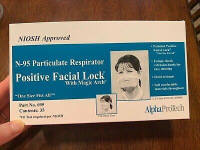 Alpha Protech N95  NIOSH Particulate Respirator Face Mask-1 Box/35 cps NIB