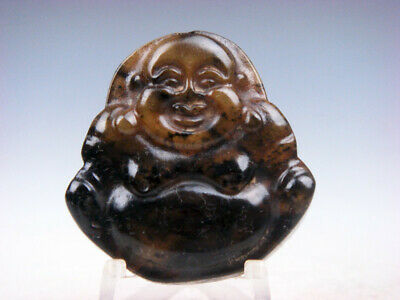 Old Nephrite Jade Hand Carved *Laughing Buddha Mi-Le* Pendant #02102006