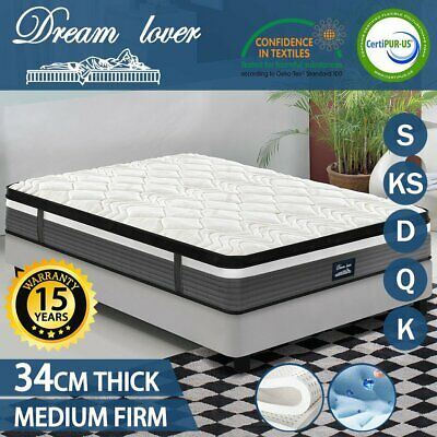 Queen King Single Double Mattress Size - Cool GEL Memory & latex- Pocket Spring