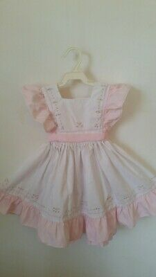 Vintage Girls Gear Child's Pink White Pinafore Dress Size 4 Easter Birthday