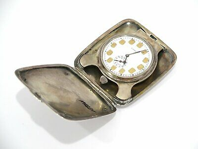 4 1/8 in - Sterling Silver Antique American 8-Day Windup Travel Clock w/ Alarm
