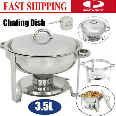 3.5L Stainless Steel Round Chafing Dish Set with Cover for Buffet Catering AU
