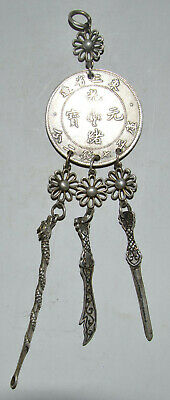 China Traditinal Fengshui Pendant Dragon Coin Silvering Copper Wealth Luck Gift