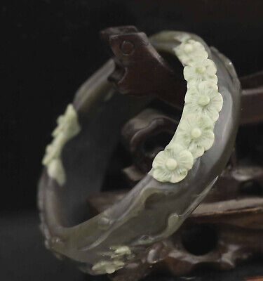 China natural hetian jade bracelet hand carved flower bangle very fine