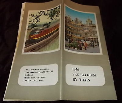 1956 SEE BELGIUM BY TRAIN Auth Tourist Brochure Rare  💥