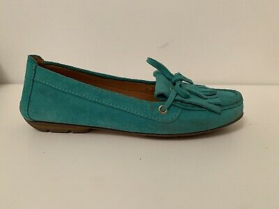 mocassino geox Donna Turchese 39 Pelle Shoes Casual Loafer Comodo Tiffany