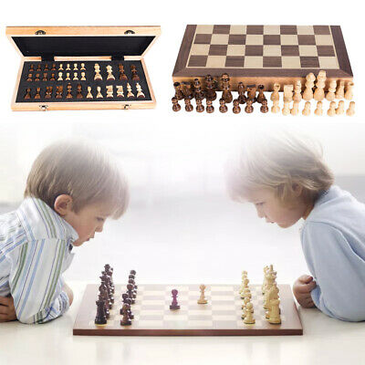 Large 3IN1 Folding Wooden Chess Set Boards Checkers Backgammon Draughts Game Toy