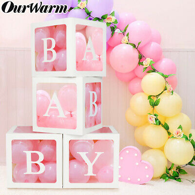 4Pcs Letter Baby Shower Boxes DIY Balloon Transparent Cardboard Box Party Decor