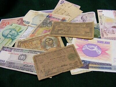 Lot of 19  Used World Banknotes,some damaged, all diff..Please see photos.