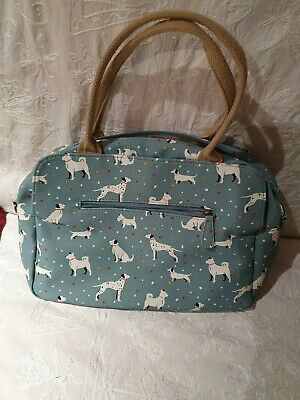 Ladies Handbag - Turquoise Background With Dog Patterns