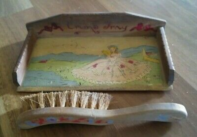 Crumb Tray & Broom-Vintage Wood-Hand Painted & Made-Lady in Full Skirt Bonnet