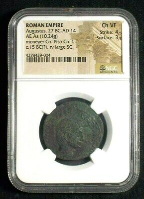 Roman AE As of Emperor Augustus, 15 BC Moneyer Pisco NGC Ch VF 9004