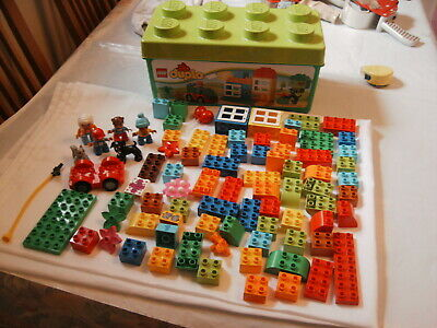 LEGO DUPLO CREATIVE TUB BOX BRICKS DOG PEOPLE FIGURES CAR ETC in mint condition