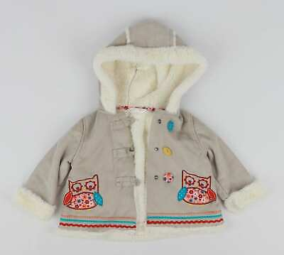 M&Co Baby Girls Beige Super Soft Cosy Sheepskin Look Hooded Coat Age 6-9m