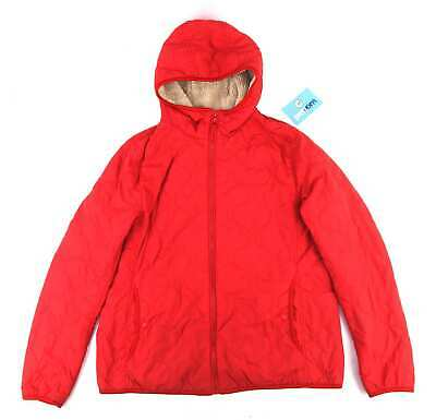 Uniqlo Girls Textured Red Padded Winter Autumn Warm Soft Faux Fur Lined Hooded C