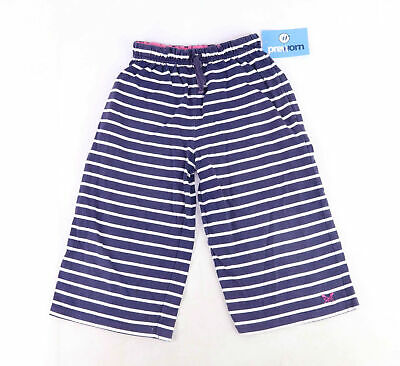Crew Clothing Co Girls Striped Blue Casual White Warm Autumn Sweatpants Age 5-6