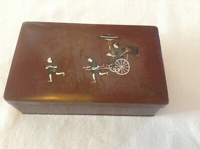Antique Japanese Solid Silver Inlay Copper Box Signed
