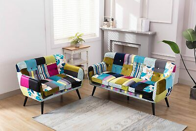 WestWood Patchwork Sofa Chair Suite Set Retro Multicolour Upholstered 2/3 Seater