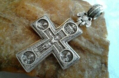 """Vintage Large Massive Sterling Silver 925 """"Imperial Russian"""" Orthodox Crucifix"""