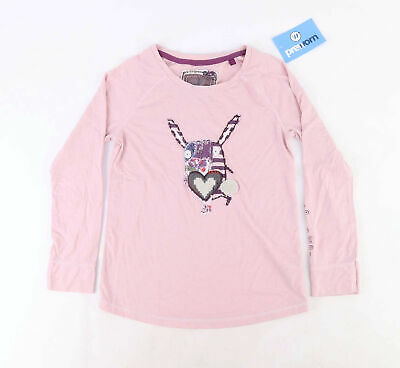 Next Girls Graphic Pink Casual Love Life Spring Flowers Long Sleeve Top Age 8