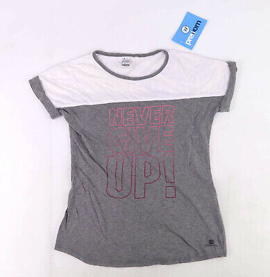 Decathlon Girls Graphic Grey Never Give Up White Pink Ombre Casual T-Shirt Age E