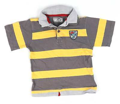Rebel Boys Grey Striped Polo Shirt Age 5-6